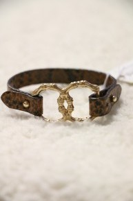 Respect Snakeskin Leather With Interlocked Bamboo Circles Bracelet In Multiple Colors