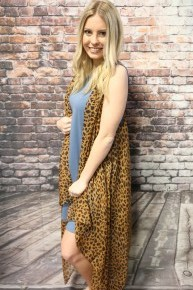 Aim To Please Leopard Waterfall Vest Kimono - One Size Fits Most