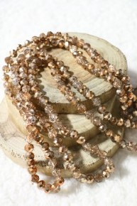 Point Of Perfection Beaded Necklace In Crystal Gold