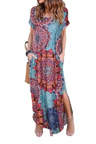 I Pulled A You On You Mix Print Maxi Dress In Blue - Sizes 4-10