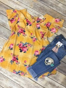 Tell You Everything Floral Top With Plaid Accent In Yellow - Sizes 12-20