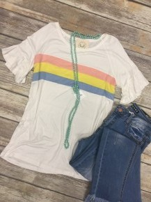 Unchained Melody Colorblock Top in White - Sizes 4-10