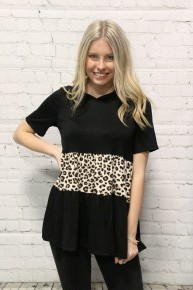 Roaring with Confidence Leopard Colorblock Hooded Short Sleeve Top-Sizes-4-20