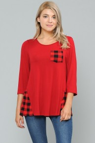 Switch It Up Red Top With Plaid Pocket & Hem - Sizes 4-20