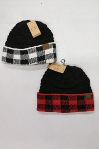 New Season Black Crochet Beanie with Buffalo Check Accent in Multiple Colors
