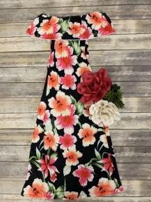 Floral Off-The-Shoulder Maxi Dress in Black - Sizes 4-12