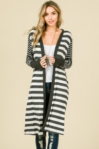 Nothing Feels Better Than This Striped Long Cardigan In Gray - Sizes 4-10