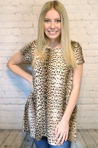 Dream Bigger Leopard Short Sleeve Top with Pockets- Sizes- 4-20