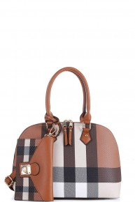 Carrying Your Love Plaid Domed Satchel with Wallet