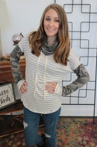 Stand Tall Striped Shirt with Camo Cowl Neck and Sleeve ~ Sizes 4-10
