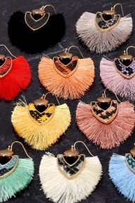 We Are Going Out Fan Tassel Earrings With Snakeskin Accent  - Multiple Colors
