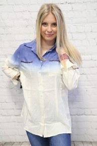 Ombre Button Up Top with Pockets in Blue - Sizes 4-20