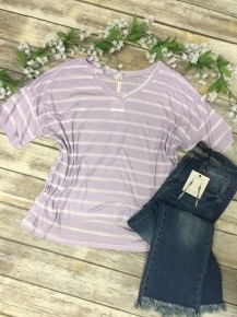 The Sky Is The Limit Striped Dolman V-Neck Top in Lavender- Sizes4-12