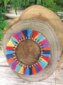 Full Of Joy Circle Tassel Necklace in Multicolor