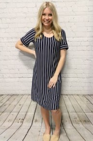 Simple & Sophisticated Navy & White Striped Dress - Sizes 4-20