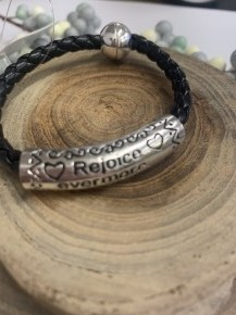 Rejoice Evermore Thessalonians 5:16 Braided Leather Bracelet In Black
