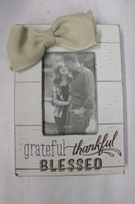 Grateful, Thankful, Blessed Farmhouse Picture Frame with Cream Burlap Bow