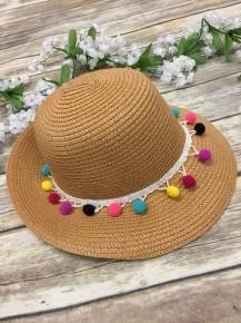 Sun Hat with Pom Poms