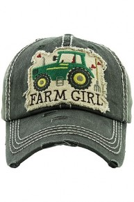 Farm Girl Distressed Ballcap With Tractor - Multiple Colors