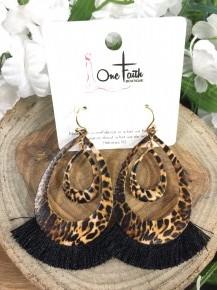 Breaking Free Leopard Teardrop Earrings With Fringe