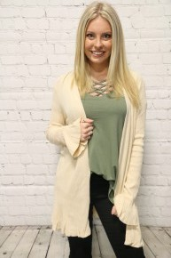 Rescue You Solid Cardigan In Vanilla - Sizes 4-10