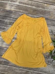 Yellow Scoop Neck Ruffle Sleeve Top- Sizes 12-20