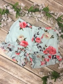 I Took A Chance Floral Ruffle Shorts In Powder Blue - Sizes 4-10