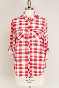 Look Alive Red Plaid Button Down Shirt Sizes 12-20