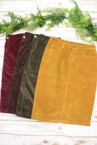 Don't Waste My Time Corduroy Skirt Multiple Colors Sizes 2-20 *Final Sale*