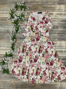 You Are Worth It Floral Dress With Belt In White - Sizes 4-18