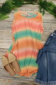 New Light Criss Cross Tunic Top in Orange - Sizes 12-20