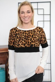 It's Never Over Leopard Color Block Long Sleeve Top In Ivory - Sizes 4-12