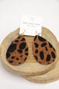 Take It All Leopard Ponyhair Teardrop Earrings