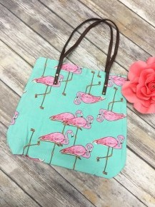 Right Where I Need To Be Flamingo Canvas Bag In Mint