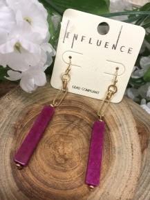 Break Time Chain And Bar Earrings In Purple