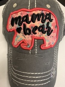 Mama Bear Distressed Ball Cap With Floral Accent In Charcoal