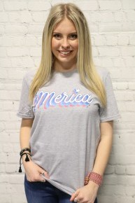 'Merica Graphic Tee In Gray- Sizes 4-20