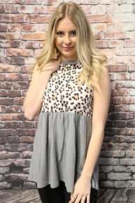If You Know Leopard & Gray Babydoll Waffle Knit Top- Sizes 4-18