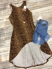 Meet Him Face To Face Leopard Hi-Lo Tunic - Sizes 4-20