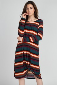 Come Back Long Sleeve Striped Dress In Evergreen - Sizes 4-20