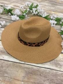 Sun Hat with Leopard Accents - Multiple Colors