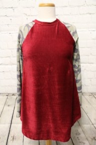 My Favorite Camp And Burgundy Velvet Top- SIZE S