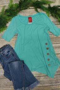 Give Me A Sign Mint Top With Button Details- Sizes 4-10