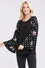 Flying Solo Black Raglan with Floral and Polka Dot Bell Sleeve Sizes 12-20