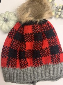 Lumberjack & All Plaid Beanie With Faux Fur Pom In Red