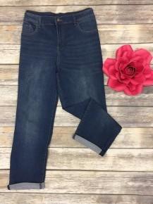 The Grace Cuffed Jean In Medium Denim - Sizes 14-22