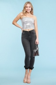 The Everly Judy Blue Distressed Black High Wasit Skinny Jean with Frayed Cuff-Sizes 3-22