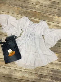 Flowy & Fun Off-The-Shoulder Top in White - Sizes 4-20