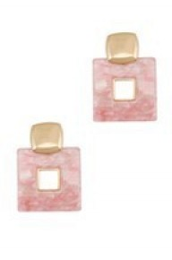 I'm A Believer Square Marble Earrings - Multiple Colors
