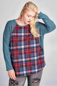 Into The Wind Knit And Plaid Top In Blue- Sizes 12-20